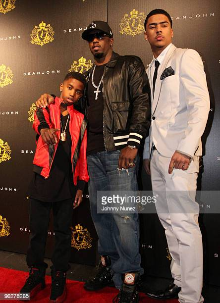 "Christian Casey Combs, Sean ""Diddy"" Combs and Quincy Brown attend Justin Dior Comb's 16th birthday party at M2 Ultra Lounge on January 23, 2010 in..."