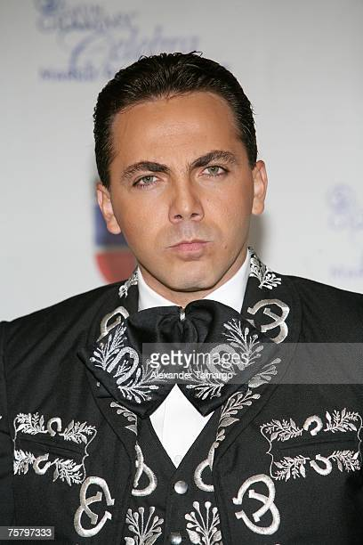 Christian Castro appears backstage during the Latin Grammy tribute concert to Marco Antonio Solis at the Bank United Center on July 26 2007 in Coral...