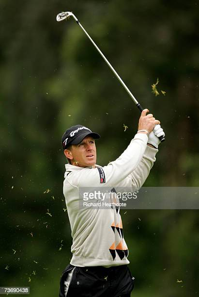 Christian Cevaer of France plays into the 6th green during the third round of the Madeira Islands Open BPI 2007 at Clube De Golf Santo Da Serra on...