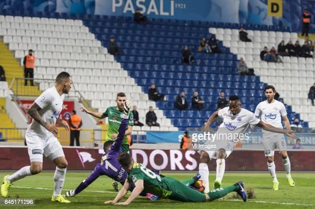Christian Chagas Tarouco of Kasimpasa SK goalkeeper Harun Tekin of Bursaspor Onur Atasayar of Bursaspor Tomas Sivok of Bursaspor Fode Koita of...