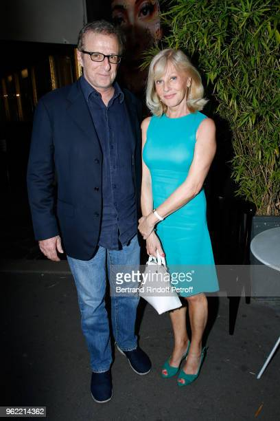 "Christian Chalmeton and Elisa Servier attend the ""La tete dans les etoiles"" Theater play at Theatre de la Gaite Montparnasse on May 24, 2018 in..."