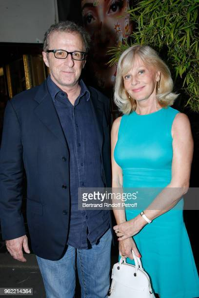 Christian Chalmeton and Elisa Servier attend the La tete dans les etoiles Theater play at Theatre de la Gaite Montparnasse on May 24 2018 in Paris...