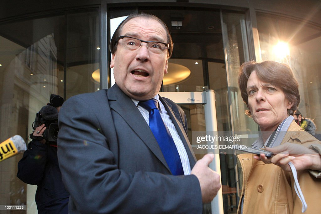 Christian Charriere-Bournazel (L) and Elisabeth Meyer, lawyers of Jerome Kerviel, the French trader who allegedly cost banking giant Societe Generale 4.90 billion euros in losse, speak to the press in front of the Financial unit of Paris Courthouse, 28 January 2008. Kerviel admitted during questioning to concealing deals that led to billions of euros in losses at Societe Generale bank, Paris prosecutor Jean-Claude Marin said today.