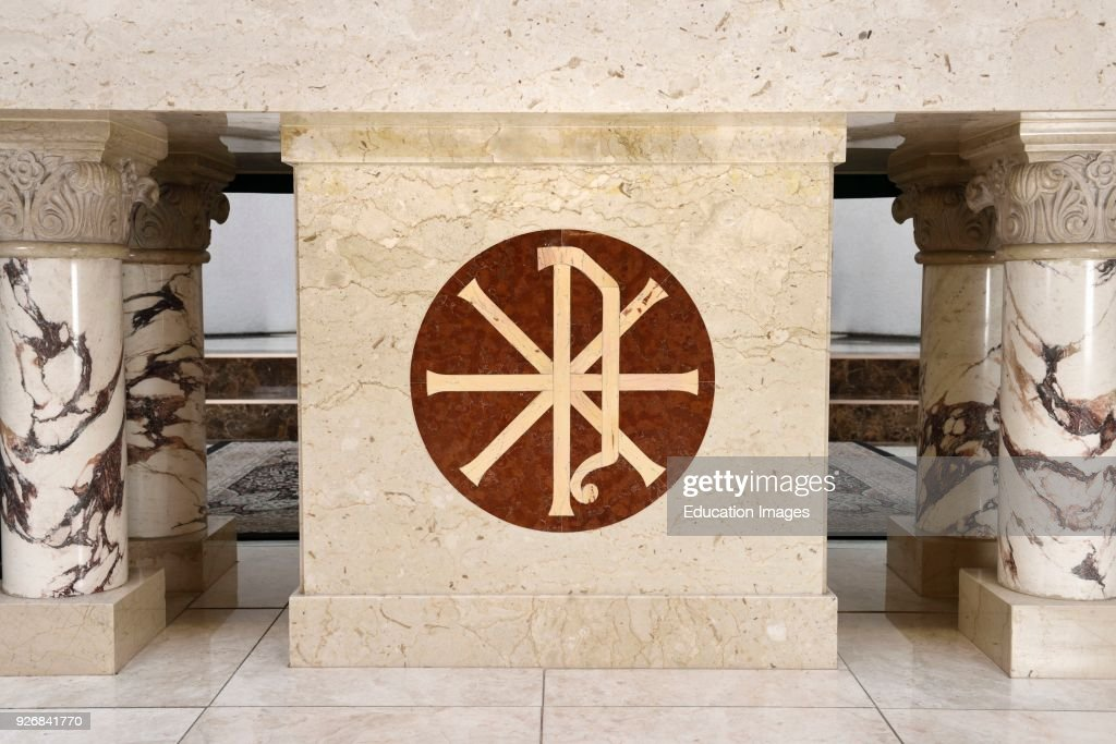 Christian Chi Rho Symbol For First Two Greek Letters Of Christ Altar