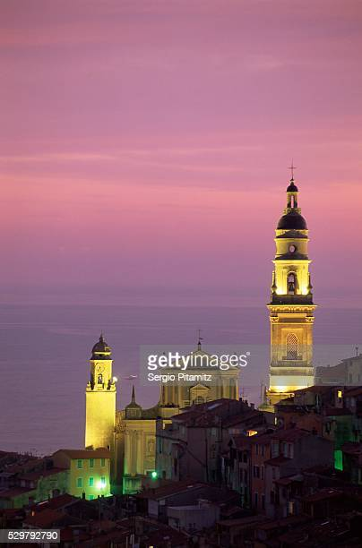 Christian church of St. Michel at dusk, Menton, Alpes Maritimes, Provence, Cote d'Azur, French Riviera, France, Europe
