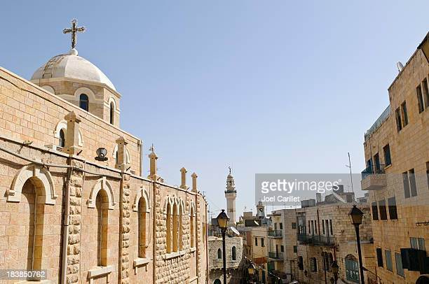 church and mosque in bethlehem - bethlehem stock pictures, royalty-free photos & images