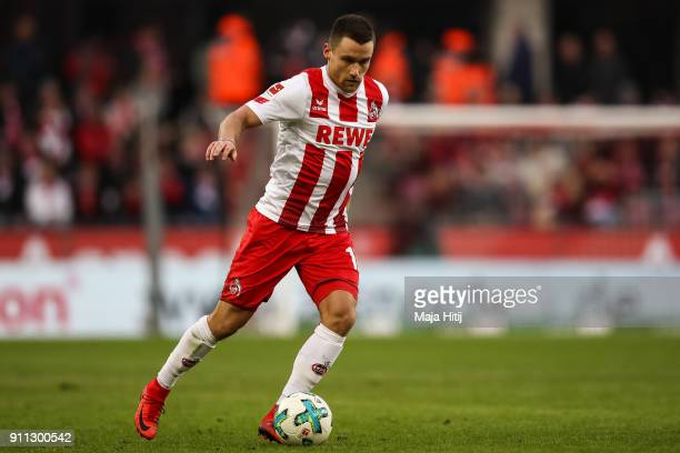 Christian Clemens of 1FC Koeln controls the ball during the Bundesliga match between 1 FC Koeln and FC Augsburg at RheinEnergieStadion on January 27...