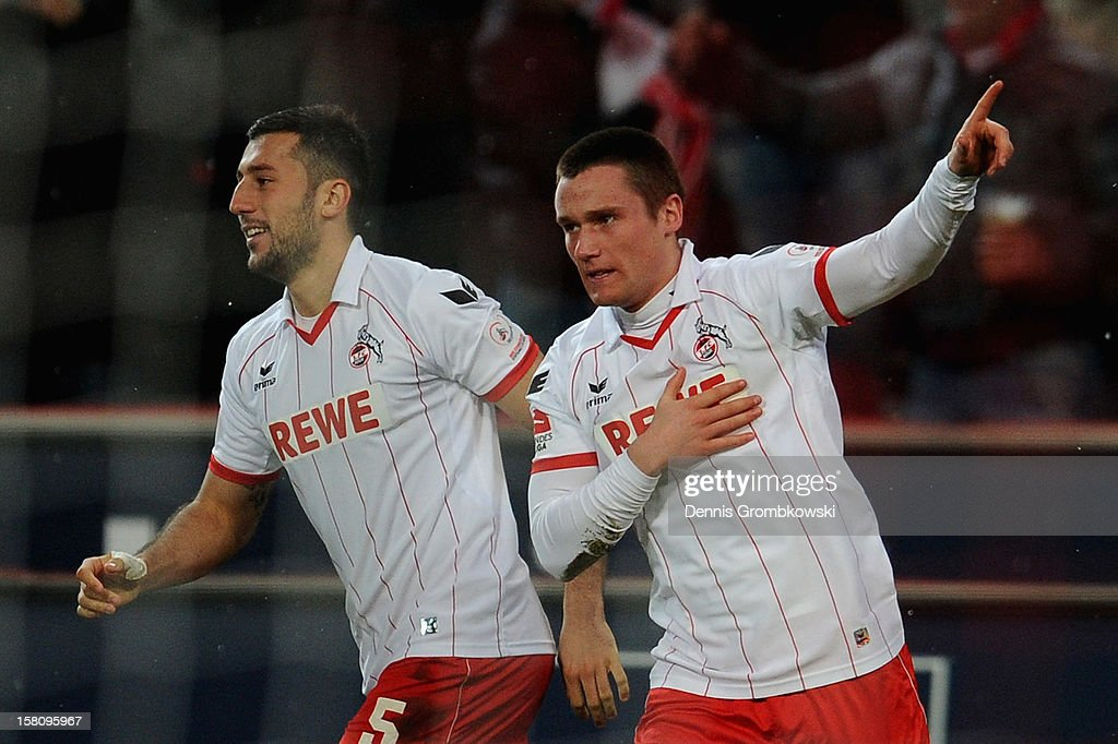 Christian Clemens of Cologne celebrates after scoring his team's first goal during the Bundesliga match between 1. FC Koeln and Eintracht Braunschweig at RheinEnergieStadion on December 10, 2012 in Cologne, Germany.