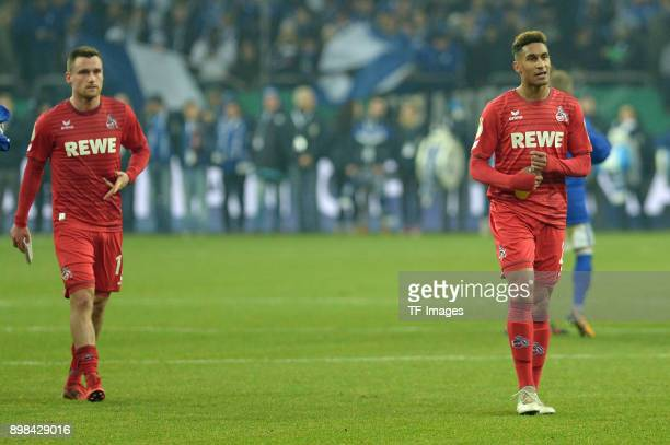 Christian Clemens of Koeln and Kevin Goden of Koeln look dejected after the Bundesliga match between FC Schalke 04 and 1 FC Koeln at VeltinsArena on...