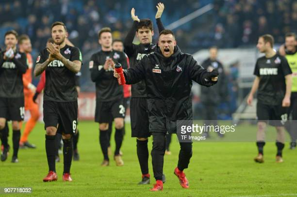 Christian Clemens of Koeln celebrates after winning the Bundesliga match between Hamburger SV and 1 FC Koeln at Volksparkstadion on January 20 2018...