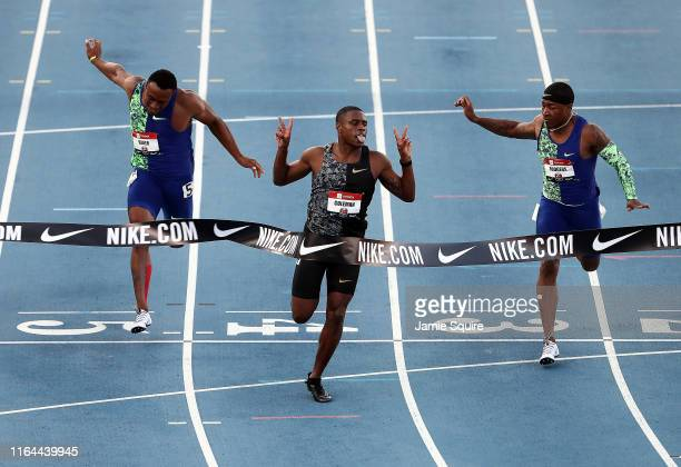 Christian Coleman crosses the finish line to win the Men's 100 Meter Final during the 2019 USATF Outdoor Championships at Drake Stadium on July 25,...