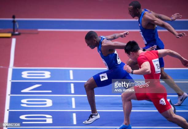 Christian Coleman from The USA Bingtian Su from China and Ronnie Baker from the USA in the Men's 60m Final on Day 3 of the IAAF World Indoor...