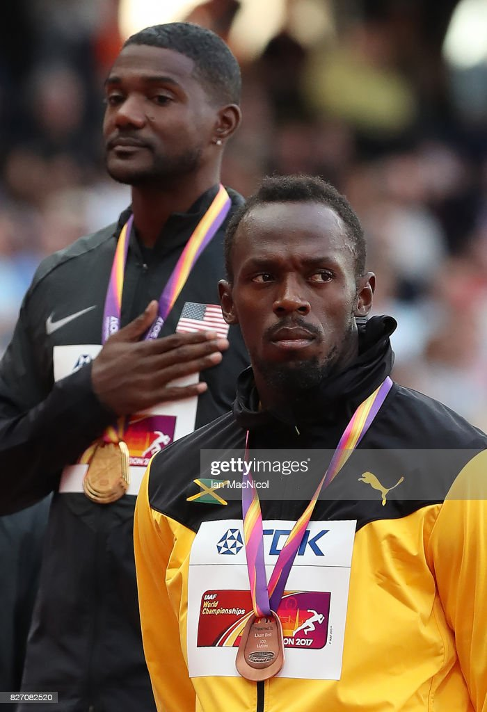 Christian Coleman, Justin Gatlin and Usain Bolt pose with their medals from the Men's 100m final, during day three of the 16th IAAF World Athletics Championships London 2017 at The London Stadium on August 6, 2017 in London, United Kingdom.