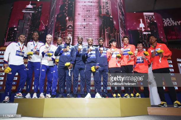 Christian Coleman Justin Gatlin Michael Rodgers and Noah Lyles of the United States gold Adam Gemili Zharnel Hughes Richard Kilty and Nethaneel...