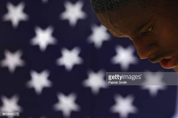 Christian Coleman looks on after placing second in the Men's 200m Final during Day 4 of the 2017 USA Track Field Outdoor Championships at Hornet...