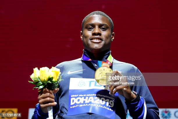 Christian Coleman of the United States, gold, poses during the medal ceremony for the Men's 100 Meters during day three of 17th IAAF World Athletics...
