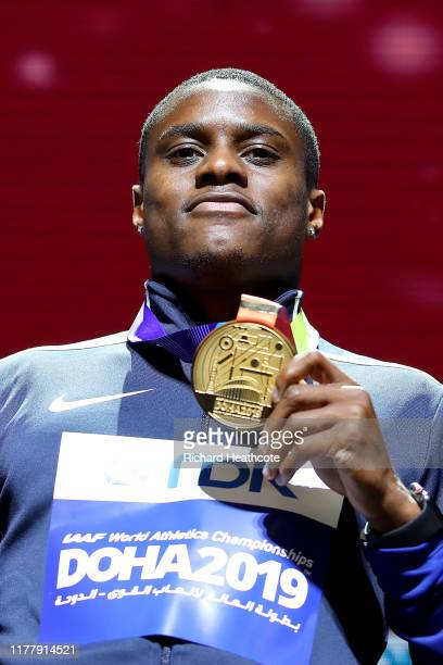 Christian Coleman of the United States gold poses during the medal ceremony for the Men's 100 Meters during day three of 17th IAAF World Athletics...