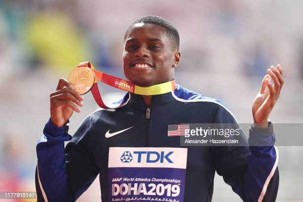 Christian Coleman of the United States gold poses with his medal for the Men's 100 Meters during day three of 17th IAAF World Athletics Championships...