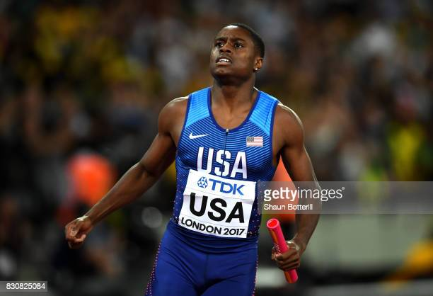 Christian Coleman of the United States reacts after finishing second in the Men's 4x100 Relay final during day nine of the 16th IAAF World Athletics...