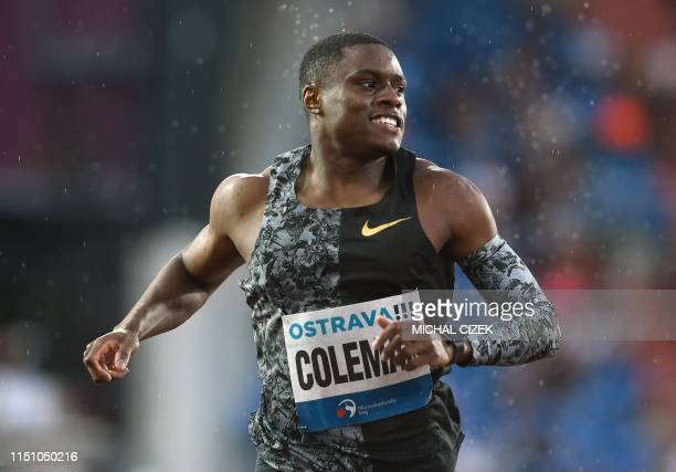 Christian Coleman of the USA finishes 2nd in the 200m Men sprint of IAAF Golden Spike 2019 Athletics meeting in Ostrava on June 20 2019