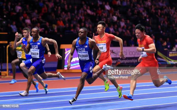 Christian Coleman of United States beats Bingtian Su of China in the 60 Meters Mens Final during the IAAF World Indoor Championships on Day Three at...