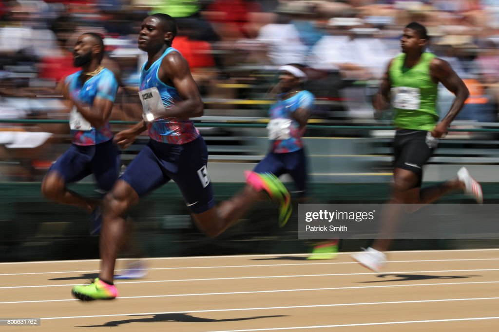 Christian Coleman runs in the Men's 200m First Round during Day 3 of the 2017 USA Track & Field Outdoor Championships at Hornet Stadium on June 24, 2017 in Sacramento, California.
