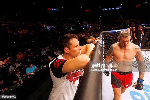 Christian Colombo of Denmark gets ready to compete against Jarjis Danho of Syria in their Heavyweight Bout during the UFC Fight Night held at...