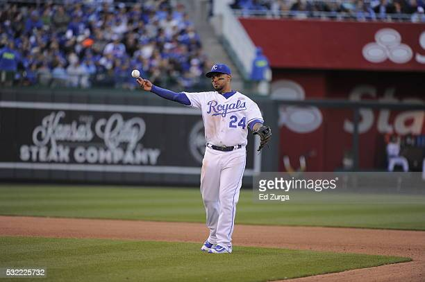 Christian Colon of the Kansas City Royals in action against the Atlanta Braves at Kauffman Stadium on May 14 2016 in Kansas City Missouri