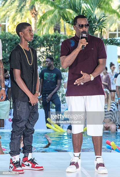 Christian Combs and Diddy attend Revolt Music Conference at Fontainebleau Miami Beach on October 17 2014 in Miami Beach Florida