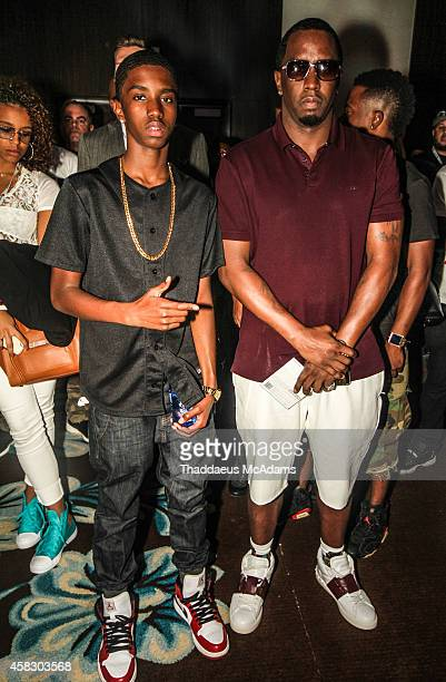 Christian Combs and Sean Combs attends Revolt Music Conference at Fontainebleau Miami Beach on October 17 2014 in Miami Beach Florida