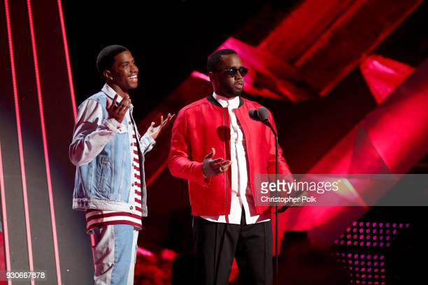 Christian Combs and Sean 'Diddy' Combs onstage during the 2018 iHeartRadio Music Awards which broadcasted live on TBS TNT and truTV at The Forum on...