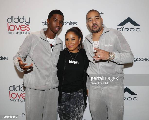 Christian Combs Angela Yee and DJ Envy attend Sean John x Bloomingdale's Cocktail Party at Bloomingdale's on October 11 2018 in New York City