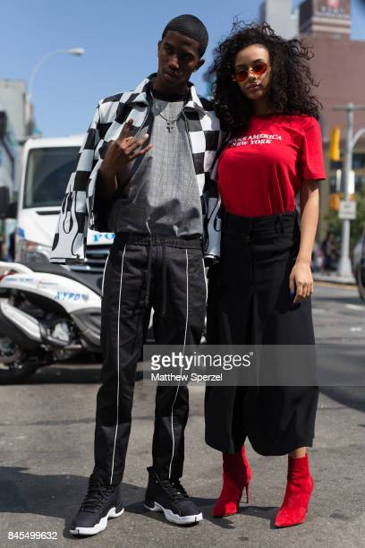 Christian Combs Breah Hicks are seen attending Public School during New York Fashion Week wearing Public School on September 10 2017 in New York City