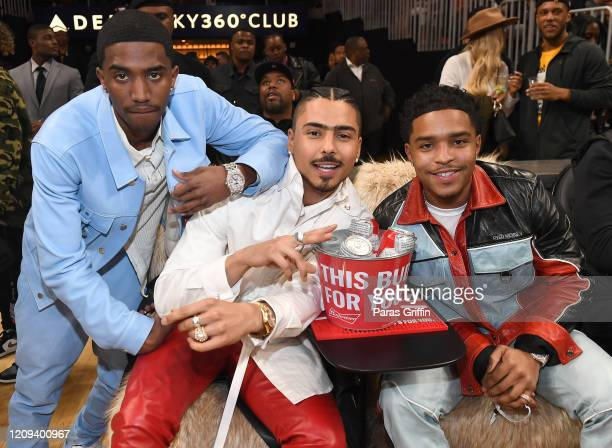 Christian Combs Quincy Brown and Justin Combs attend Brooklyn Nets vs Atlanta Hawks game at State Farm Arena on February 28 2020 in Atlanta Georgia