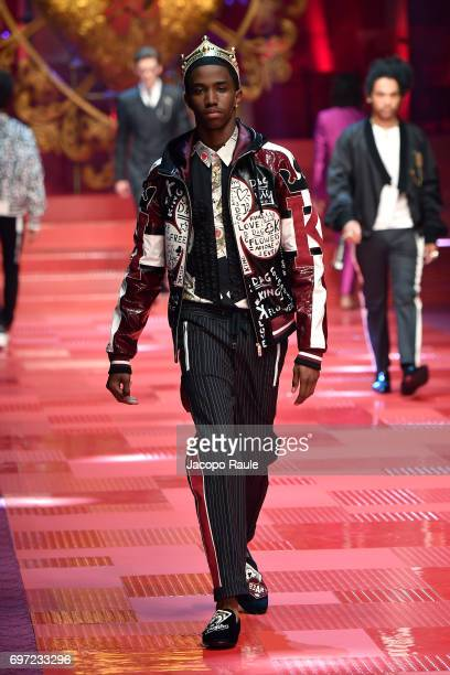 Christian Combs walks the runway at the Dolce Gabbana show during Milan Men's Fashion Week Spring/Summer 2018 on June 17 2017 in Milan Italy