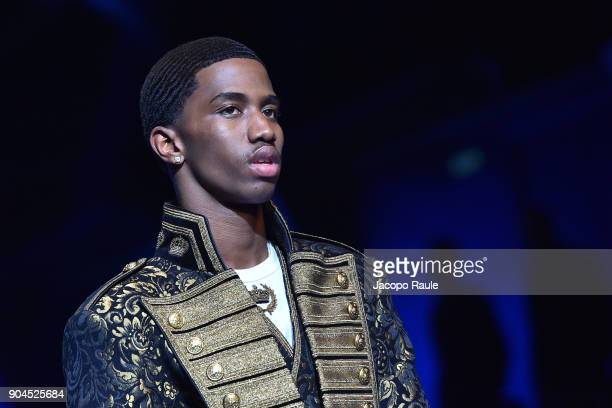 Christian Combs walks the runway at the Dolce Gabbana show during Milan Men's Fashion Week Fall/Winter 2018/19 on January 13 2018 in Milan Italy