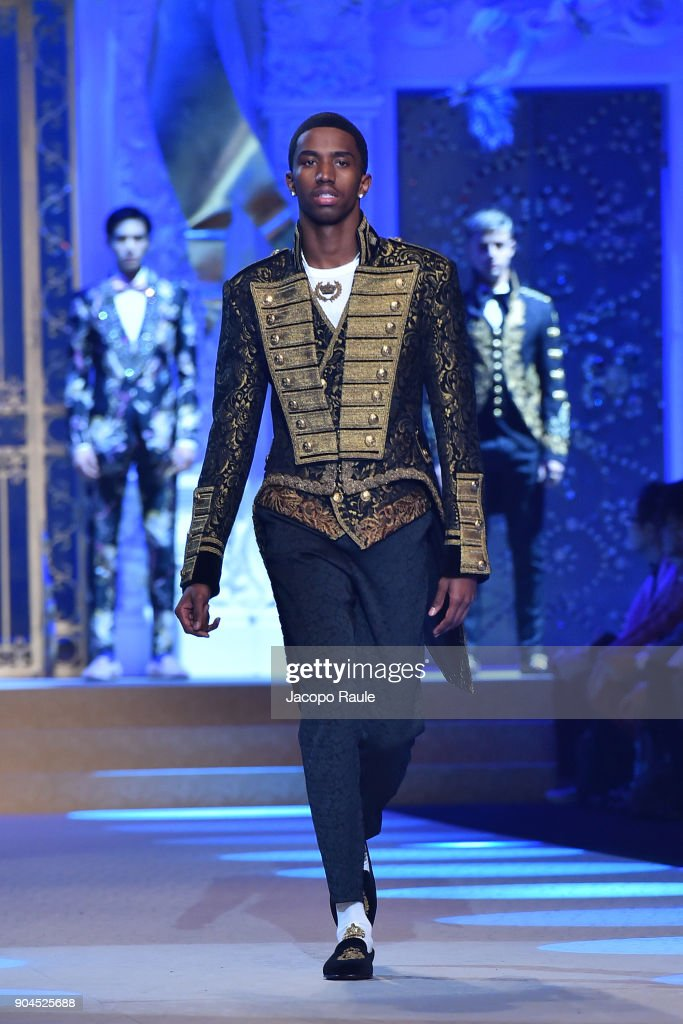 Christian Combs walks the runway at the Dolce & Gabbana show during Milan Men's Fashion Week Fall/Winter 2018/19 on January 13, 2018 in Milan, Italy.