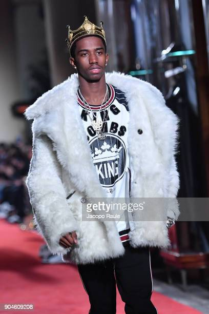 Christian Combs walks the runway at the Dolce Gabbana Unexpected Show show during Milan Men's Fashion Week Fall/Winter 2018/19 on January 13 2018 in...