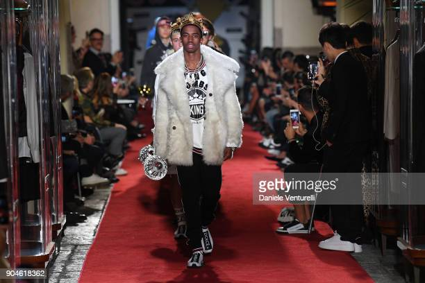 Christian Combs walks the runway at the Dolce Gabbana Unexpected Show during Milan Men's Fashion Week Fall/Winter 2018/19 on January 13 2018 in Milan...