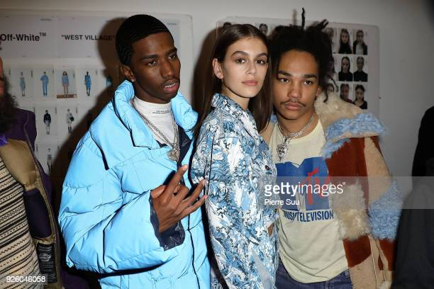 Christian CombsKaia Gerber and Luka Sabbat are seen backstage at the OffWhite show as part of the Paris Fashion Week Womenswear Fall/Winter 2018/2019...