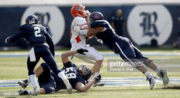 Christian Covington of the Rice Owls tackled Blaire Sullivan of the UTEP Miners on October 26 2013 at Rice Stadium in Houston Texas