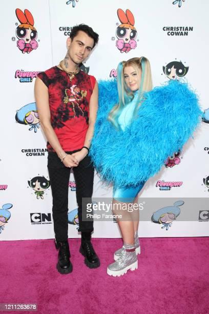 Christian Cowan and Meghan Trainor attend the 2020 Christian Cowan x Powerpuff Girls Runway Show on March 08, 2020 in Hollywood, California.