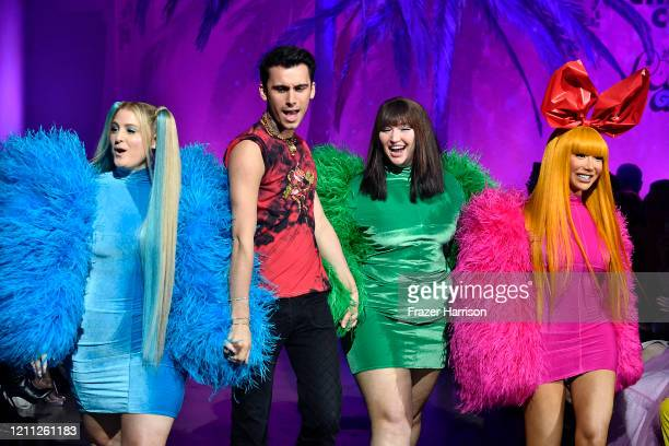 Christian Cowan and Meghan Trainor walk the runway during the 2020 Christian Cowan x Powerpuff Girls Runway Show on March 08 2020 in Hollywood...
