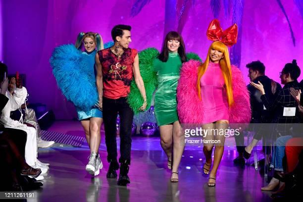 Christian Cowan and Meghan Trainor walk the runway during the 2020 Christian Cowan x Powerpuff Girls Runway Show on March 08, 2020 in Hollywood,...