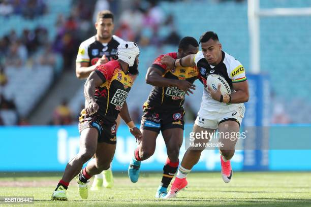 Christian Crichton of the Panthers is tackled during the 2017 State Championship Final between the Penrith Panthers and Papua New Guinea Hunters at...