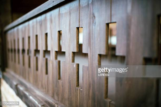christian crosses carved into a fence - lerexis stock pictures, royalty-free photos & images