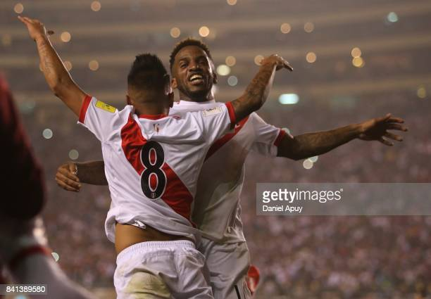 Christian Cueva of Peru celebrates after scoring his team's second goal celebrates after goal during a match between Peru and Bolivia as part of FIFA...