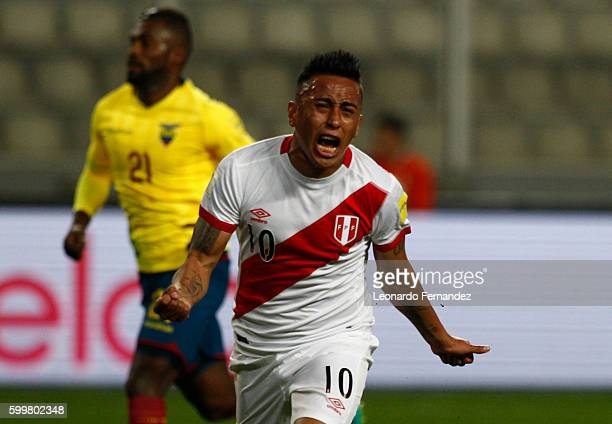 Christian Cueva of Peru celebrates after scoring the opening goal during a match between Peru and Ecuador as part of FIFA 2018 World Cup Qualifiers...