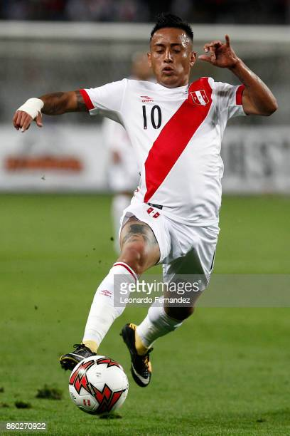 Christian Cueva of Peru controls the ball during a match between Peru and Colombia as part of FIFA 2018 World Cup Qualifiers at National Stadium on...