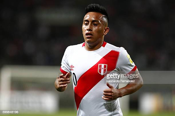 Christian Cueva of Peru during a match between Peru and Ecuador as part of FIFA 2018 World Cup Qualifiers at Nacional Stadium on September 06 2016 in...